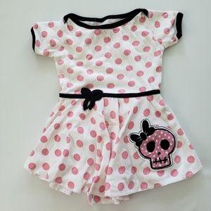 Baby Girl Pink Polka Dot & Skull Adorable Dress